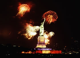 Fireworks at the Statue of Liberty